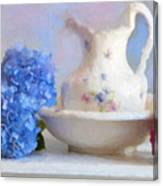 Hydrangea And Wash Basin Canvas Print