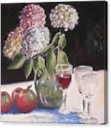 Hydrangeas Apples And Wine Canvas Print