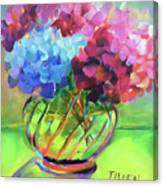 Hydrangeas In A Glass Vase Canvas Print