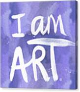 I Am Art Painted Blue And White- By Linda Woods Canvas Print