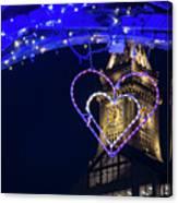 I Heart Boston Ma Christopher Columbus Park Trellis Lit Up For Valentine's Day Canvas Print
