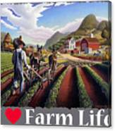 I Love Farm Life Shirt - Farmer Cultivating Peas - Rural Farm Landscape Canvas Print