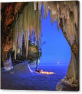 Ice Cave Setting Full Moon Serenity Canvas Print