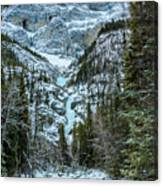 Ice Climbers Approaching Professor Falls Rated Wi4 In Banff Nati Canvas Print