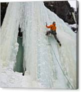 Ice Climbing Mummy II In Haylite Canyon Near Bozeman Canvas Print