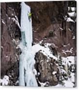 Ice Climbing The Scepter In Hyalite Canyon Canvas Print