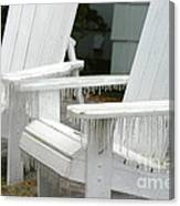 Ice-coated Chairs Canvas Print