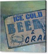 Ice Cold Beer And Crabs - Looks Like Summer At The Shore Canvas Print