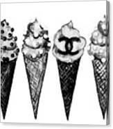 Ice Cream Black ,chanel Canvas Print