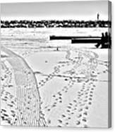Ice Fishing On Lake Michigan Canvas Print