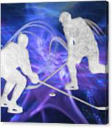 Ice Hockey Players Fighting For The Puck Canvas Print