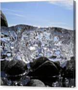 Ice On Rocks 3 Canvas Print
