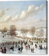 Ice Skating, 1865 Canvas Print