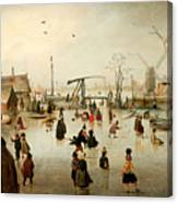 Ice Skating In A Village Canvas Print