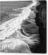 Iceland Coast Dyrholaey Black And White Canvas Print
