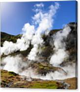 Iceland Geothermal Area With Steam From Hot Springs Canvas Print
