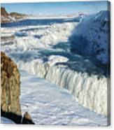 Iceland Gullfoss Waterfall In Winter With Snow Canvas Print