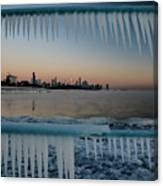 Icicles And Chicago Skyline Canvas Print