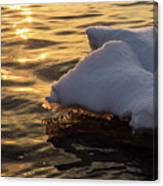 Icy Gold And Silk - Luminous Icicles Reflected On Glossy Water Canvas Print