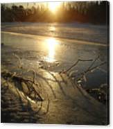 Icy Mississippi River Bank At Sunrise Canvas Print