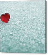 Icy Red Heart Canvas Print