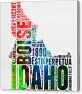 Idaho Watercolor Word Cloud  Canvas Print