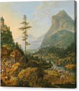 Idealized River Landscape With A Hunting Party Canvas Print