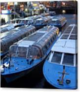 Idle Tour Boats -- Amsterdam In November Canvas Print