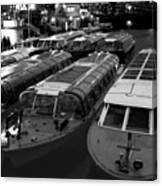 Idle Tour Boats -- Amsterdam In Winter Bw Canvas Print