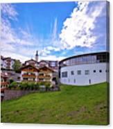 Idyllic Alpine Town Of Kastelruth On Green Hill View Canvas Print