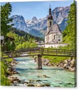 Idyllic Church In The Alps Canvas Print