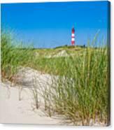 Idyllic Dunes And Lighthouse At North Sea Canvas Print