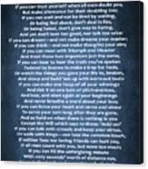 If Poem Blue Canvas Canvas Print