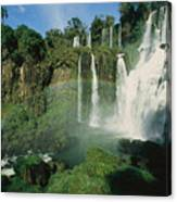 Iguazu Waterfalls With A Rainbow Canvas Print