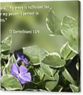 II Corinthians 12 Vs 9 Lavender Flower Canvas Print