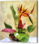 Ikebana Bird Of Paradise Canvas Print