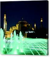 Illuminated Fountain Of Istanbul Canvas Print
