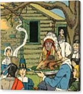 Illustration Of The First Thanksgiving Canvas Print