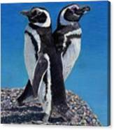 I'm Not Talking To You - Penguins Canvas Print