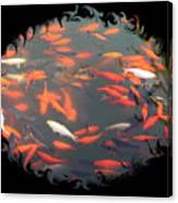Imperial Koi Pond With Black Swirling Frame Canvas Print