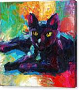 Impressionistic Black Cat Painting 2 Canvas Print