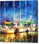 In The Port - Palette Knife Oil Painting On Canvas By Leonid Afremov Canvas Print