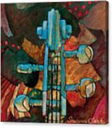 In Tune - String Instrument Scroll In Blue Canvas Print