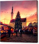 Incredible Christmas Market In Tallinn, Estonia Canvas Print
