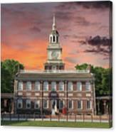 Independence Hall Philadelphia Sunset Canvas Print
