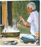 India - Street Side Cooking Canvas Print