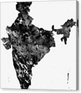 Map Of India-black Canvas Print