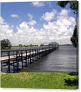 Indialantic Pier On The Indian River Lagoon In Central Florida Canvas Print