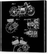 Indian Motorcycle Patent 1943 Black Canvas Print