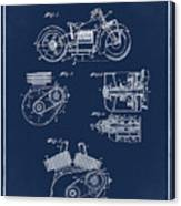 Indian Motorcycle Patent 1943 Blue Canvas Print
